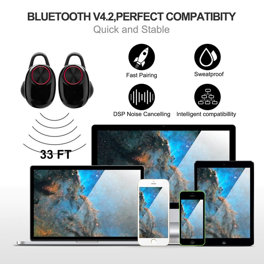 V5 TWS Bluetooth Headset True Wireless Earbus with QI-Enabled Wireless Charging Case IPX6 Waterproof Long Lasting 20