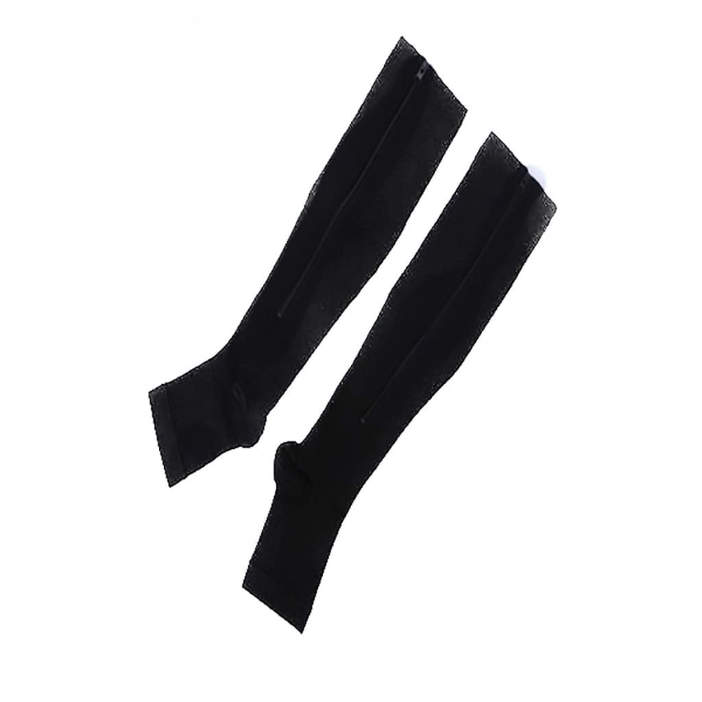 1 Pair Unisex Compression Socks Zipper Leg Support Knee Socks Women Men Open Toe Thin Anti-Fatigue Stretchy Socks Drop shipping