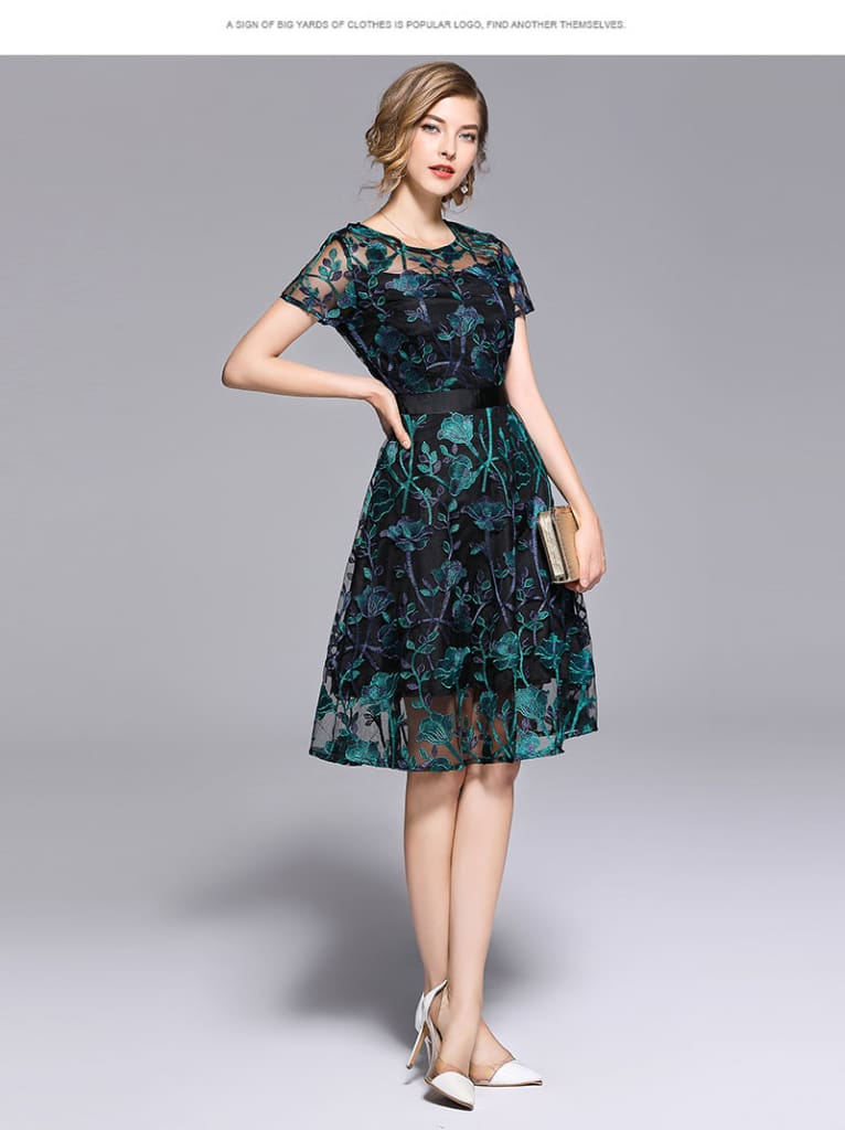 Casual Dress Floral Embroidery A-line Elegant Dress