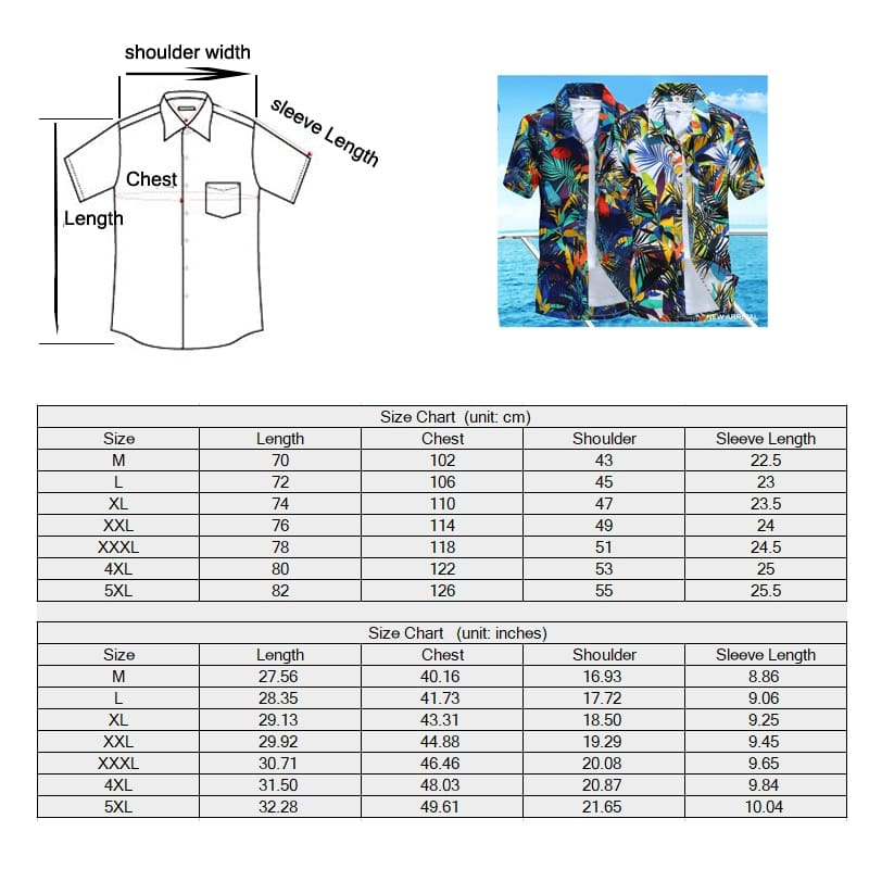 Men Hawaiian Shirts - Camisa Masculina Tropical Printed Beach Shirt
