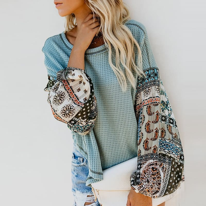 Bohemian Knit Patchwork Blouse