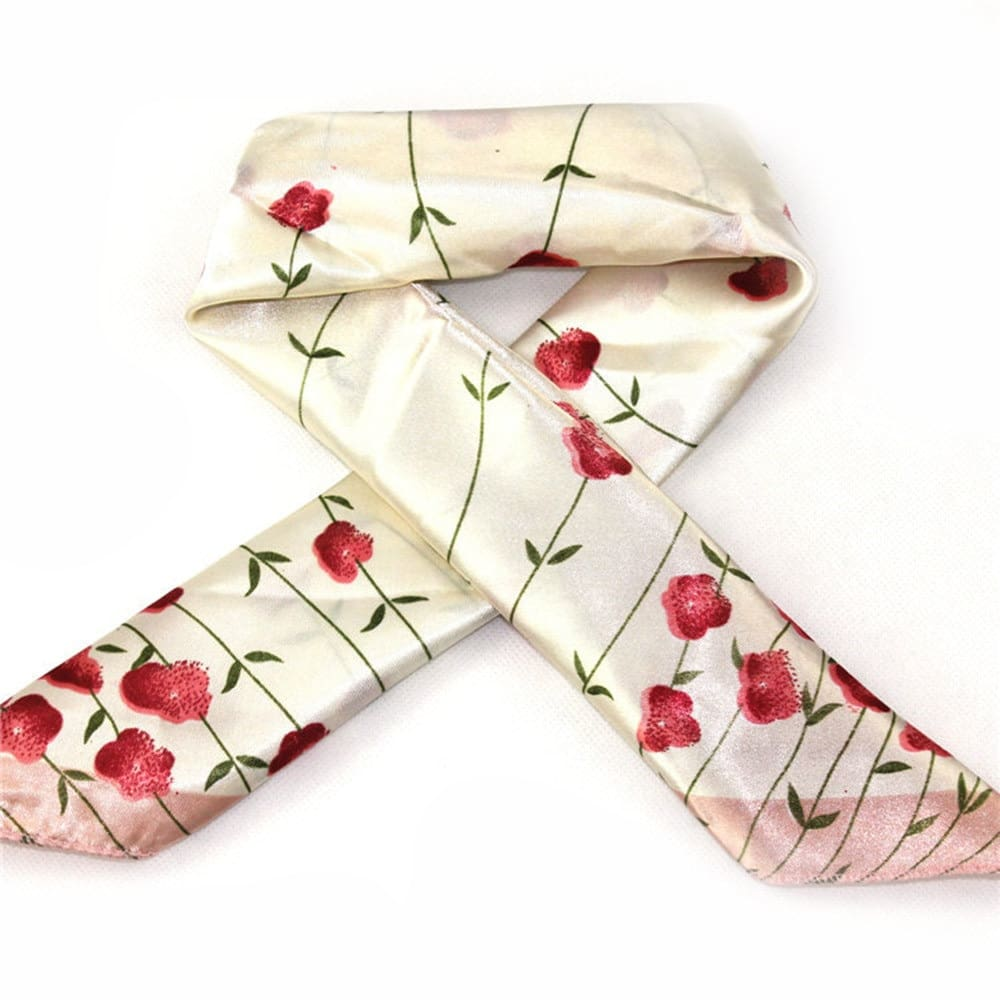 Women Vintage Head Neck Hair Tie Square Silk Satin Scarf