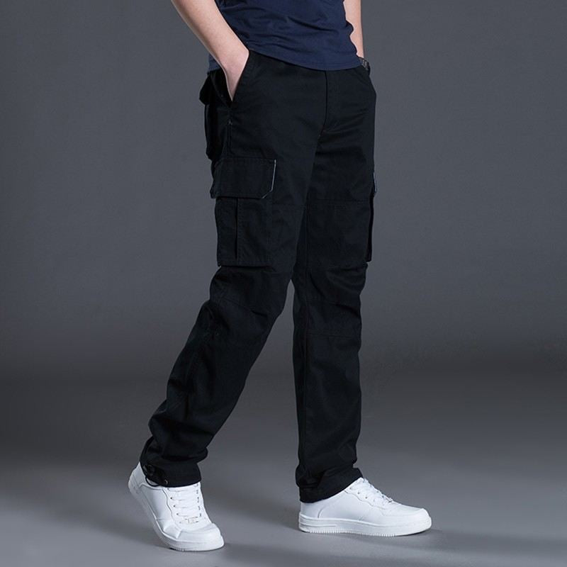 Men Clothing Cargo Military Army Pants Multi-Pockets Decoration Casual Male Autumn Spring Straight Gray