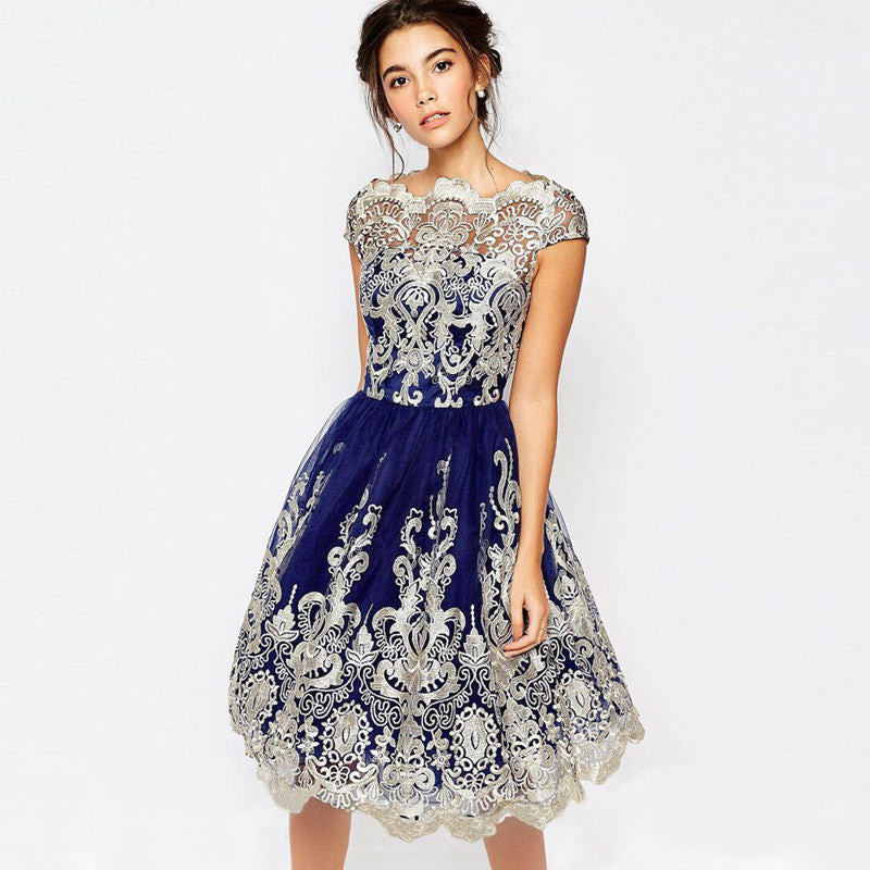 Hollow Out Lace Short Sleeve Ball Gown Women Party Dress