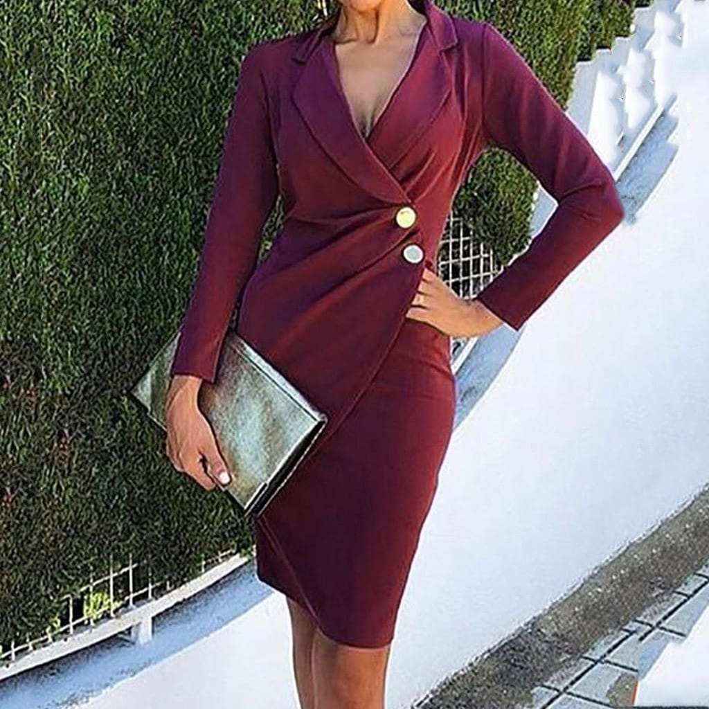 Buttons Bodycon Work Formal Dress