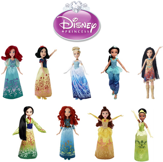 A selection of Disney Princesses, including Pocahontas, Mulan, Jasmine, Merida, Tiana, Snow White, Cindrella, Belle and Ariel