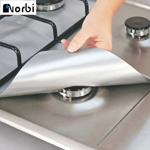 4Pcs Reusable Foil Gas Stovetop  Liners