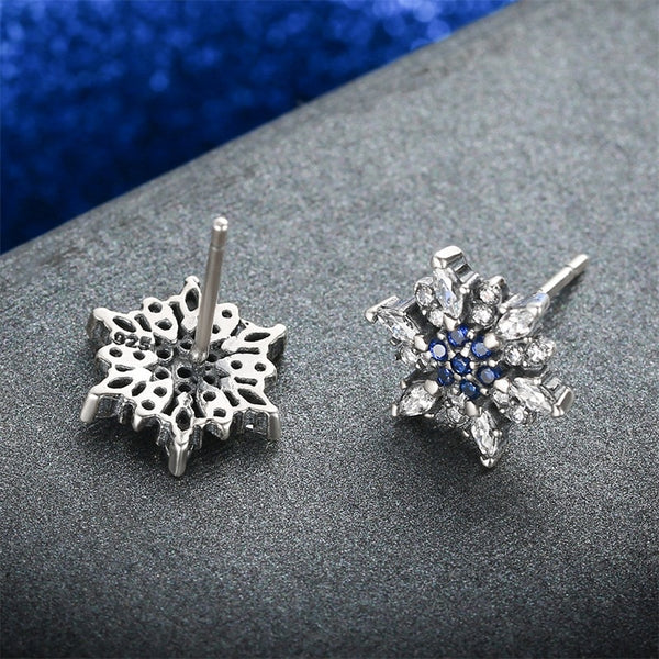 "Blue Crystal ""Snowflake"" Stud Earrings - 925 Sterling Silver - SAVE 67%"