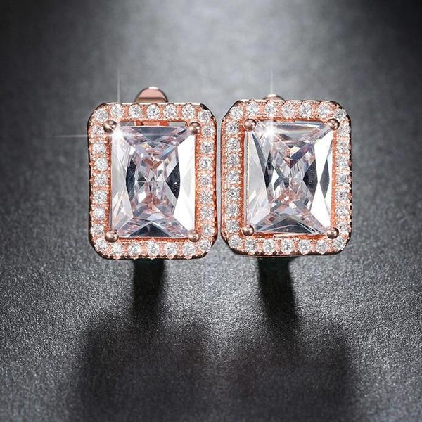 New Years Glamour!  1.8 ct Rectangle CZ Stud Earrings