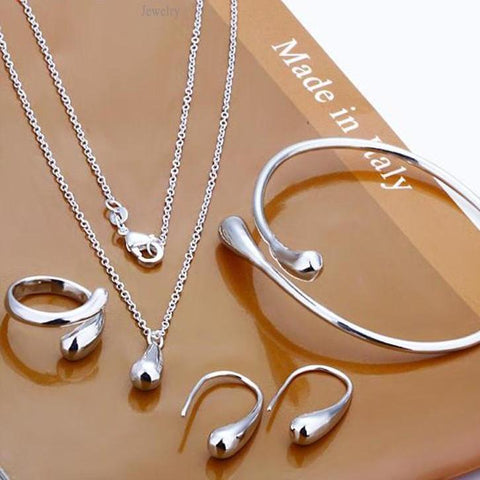 Exquisite Jewellery Silver Water Drop Necklace/Rings/Earring Set-- Save 66%!!