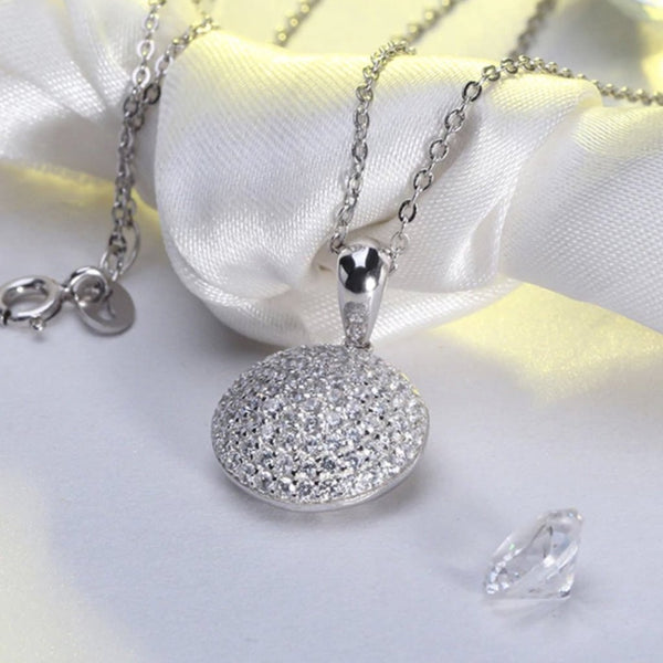 "Jewellery: Beautiful  Round 925 Sterling Silver AAA Necklace with 17"" Chain  Gorgeous Beyond Words!!"