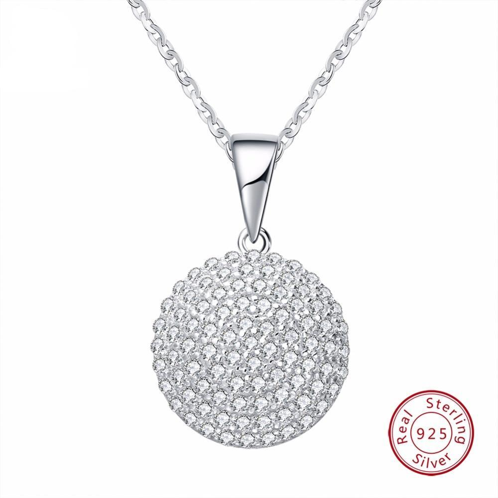 Jewellery: Beautiful  Round 925 Sterling Silver AAA Necklace with 17