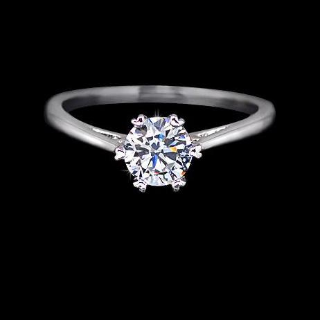 Women's Classic Engagement Solitaire Ring -  White-Gold Rhodium Plated Cubic Zirconia