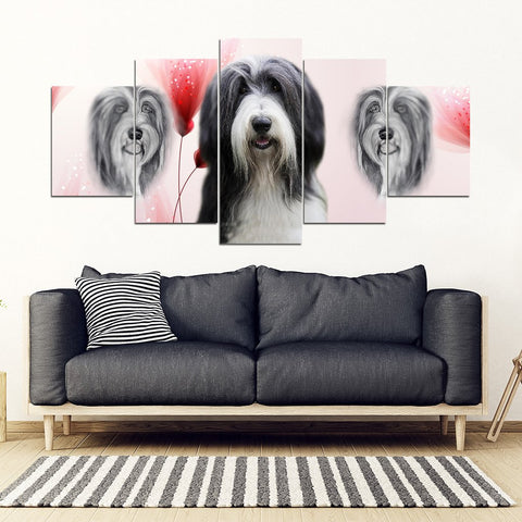 Bearded Collie Print-5 Piece Framed Canvas- Free Shipping