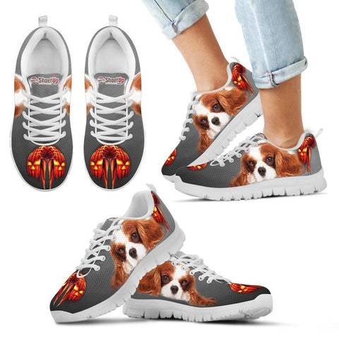 Cavalier King Charles Spaniel Halloween Print Sneakers For Kids- Free Shipping