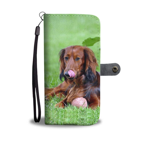 Cute Dachshund Dog Print Wallet Case-Free Shipping
