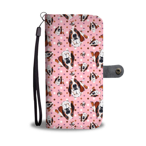 Basset Hound Dog Pattern Print Wallet Case-Free Shipping
