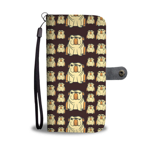 Cartoonized Bulldog Pattern Print Wallet Case-Free Shipping