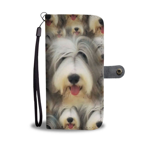 Bearded  Collie Dog In Lots Print Wallet Case-Free Shipping