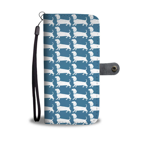 Dachshund Dog Pattern Print Wallet Case-Free Shipping
