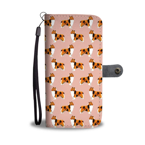 Rough Collie Dog Pattern Print Wallet Case-Free Shipping