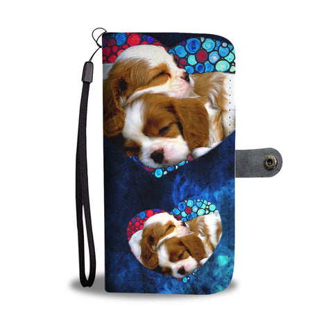 Lovely Cavalier King Charles Spaniel Pattern Print Wallet Case-Free Shipping