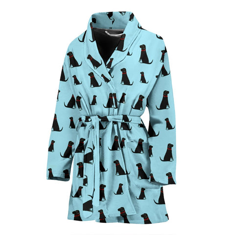 Black Labrador Pattern Print Limited Edition Women's Bath Robe-Free Shipping