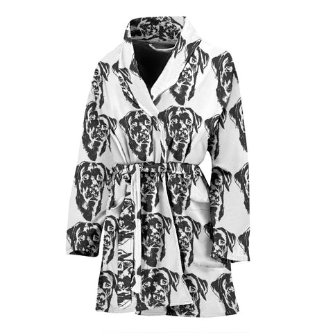 Labrador Black&White Pattern Print Women's Bath Robe-Free Shipping