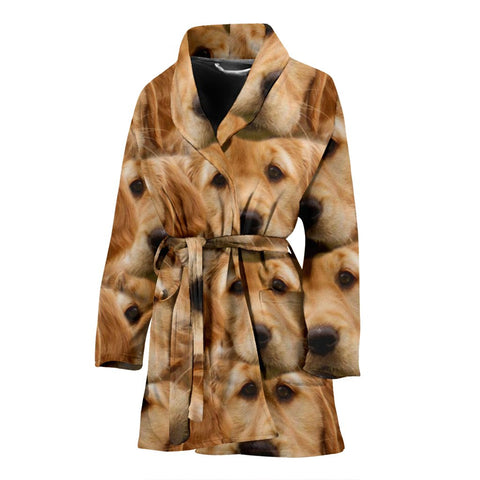 Golden Retriever Dog Print Women's Bath Robe-Free Shipping
