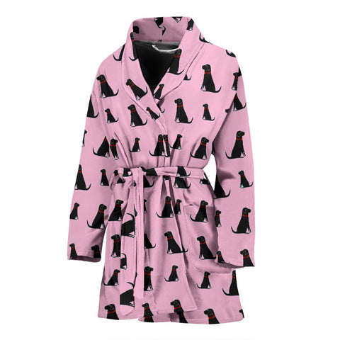 Black Labrador On Pink Print Women's Bath Robe-Free Shipping