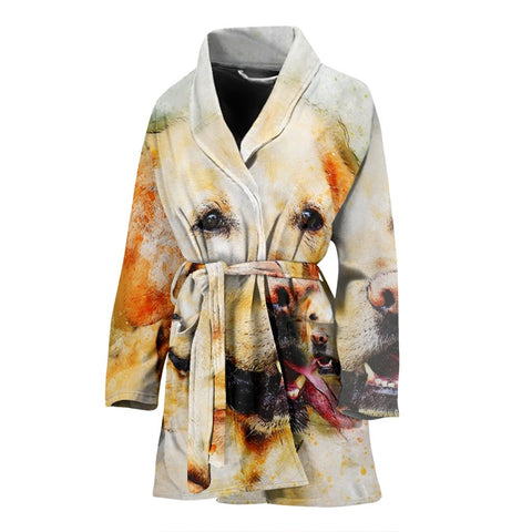 Labrador Dog Art Print Women's Bath Robe-Free Shipping