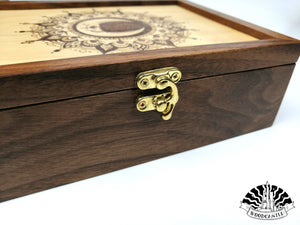Handmade Skull Moon Mandala Walnut Keepsake box of Woodcastle