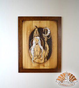 The Moon Queen - Wood-burnt picture