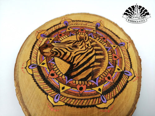 Zebra Spirit - Wood Burnt Log Picture with hanger- created using pyrography techniques by Woodcastle