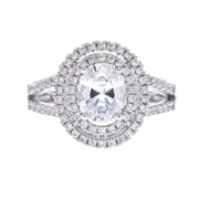 Double Halo Oval Ring - Viamar Jewelry