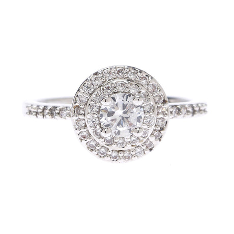 Petite Double Halo Solitare Ring