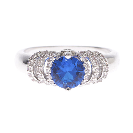 Azure Blue Cubic Zirconia Ring - Viamar Jewelry