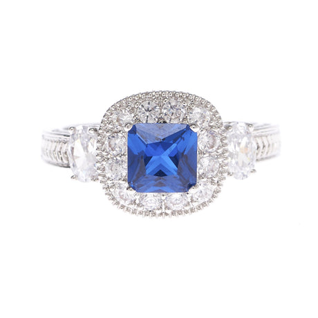 Princess Cut Cobalt Blue  Ring - Viamar Jewelry
