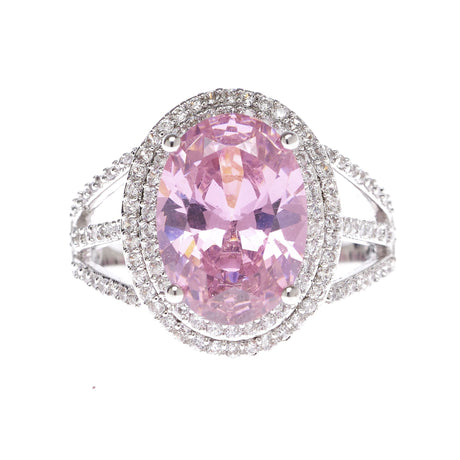 Pink Oval Statement Cubic Zirconia Ring