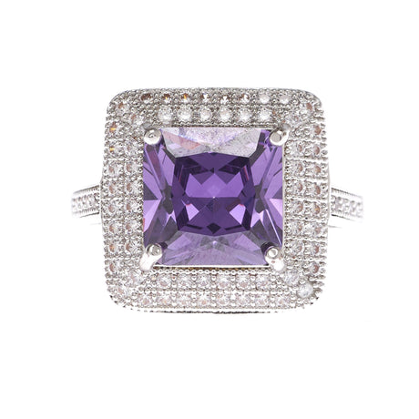 Amethyst Cubic Zirconia Square Cut Ring - Viamar Jewelry