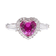 Ruby Heart Cubic Zirconia Ring - Viamar Jewelry