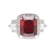 Square Cut Garnet Cubic Zirconia Ring - Viamar Jewelry