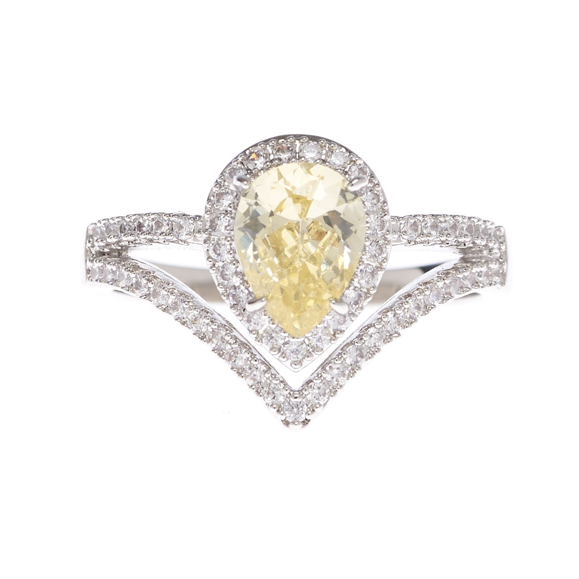 rings prong o engagement round solitaire bijoux ring canary majesty yellow in gold diamond white cut