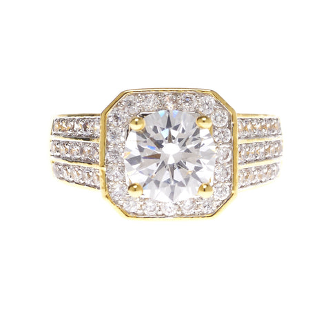 Round Cubic Zirconia with Pave Ring - Viamar Jewelry