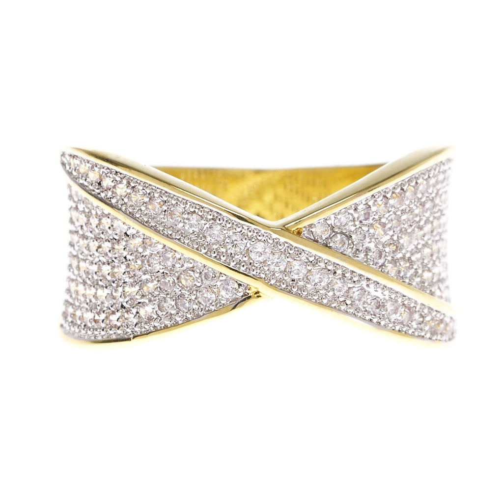 Pave Criss Cross Cubic Zirconia Ring - Viamar Jewelry