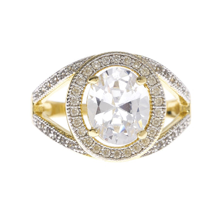 Oval Cubic Zirconia with Open Sides Ring - Viamar Jewelry
