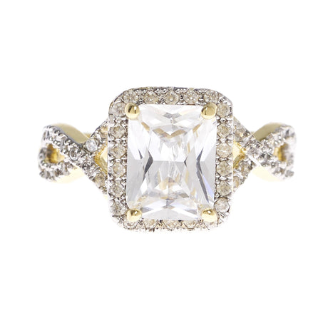 Rectangle Cubic Zirconia with a Twist - Viamar Jewelry