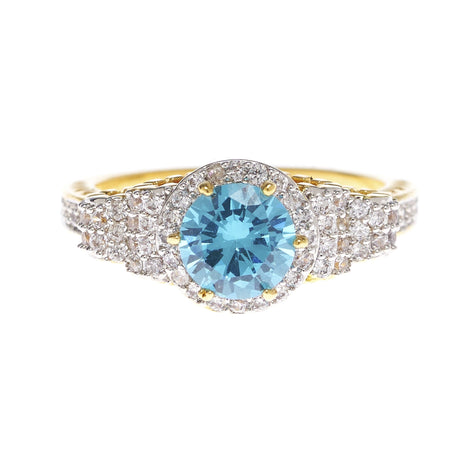 Aqua Blue and Clear Cubic Zirconia Ring