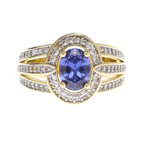 Oval Tanzanite with Triple Split Band Ring - Viamar Jewelry