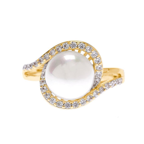 White Pearl with Cubic Zirconia Ring - Viamar Jewelry